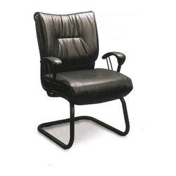 "CST900151 - Sleek Contemporary Guest Chair Black Metal And Vinyl - Sleek contemporary guest chair black metal and vinyl, measures 20"" x 26 1/2"" x 38 1/2"" H.  Some assembly required."