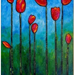 """Tulips1 (Original) by Joy Pesaturo - This is the first piece in my """"Tulips"""" series.  The bright colors are reminiscent of spring in the Skagit Valley during the tulip season.  Deep blues, gradient shades of green, yellow, orange, reds, pinks, and turquoise are present in this cheerful painting.  Enjoy!"""