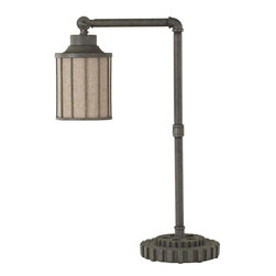 Signature Design by Ashley - Sade Metal Desk Lamp - This desk lamp is one Smooth Operator. The Sade Metal Desk Lamp offers a vintage casual look with an aged gray finish. he shade adds true elegance with the wire framing. The neck is adjustable so you can move the light as smoothly as the singer/song writers jazz and world beat backgroun.