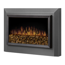 Pelham Wall-Mount Electric Fireplace - With its widescreen aspect ratio and clean, uncomplicated design, the Pelham Wall-Mount Electric Fireplace makes a seamless addition to any modern space. It features a sophisticated Pewtered Gloss Finish with stepped aluminum trim detail. The Pebbled Stones allows for a custom look. The Patented, life-like flame effect and on-demand heat with thermostat control warms a room or area of up to 400 sq. ft. The Flame operates with or without heat at 2¢ / hour with flame only and at 7¢ / hour with both flame and heat - it's a perfect addition to any room in any season.