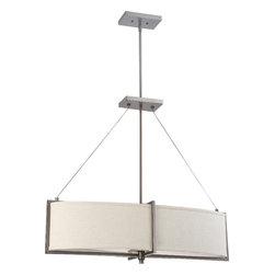 Nuvo Lighting - Portia Four Light Oval Pendant With Khaki Fabric Shades In Hazel Bronze Finish - Ratio - 1 Light Mini Pendant w/ Frosted Sand Glass