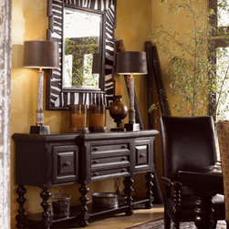 Lexington Home Brands - Regiment Huntboard - At your service in the dining room, with three felt-lined drawers and two doors that open to reveal interior storage.