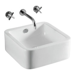 Caracalla - Square White Ceramic Vessel Bathroom Sink, No Hole - Beautiful square sink made of porcelain with a white glaze. Designed as a vessel sink to have overflow and no faucet holes. Made by Caracalla in Italy.