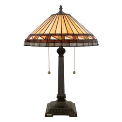 Quoizel Lighting - Quoizel TF6663VB Estacado Tiffany Vintage Bronze Table Lamp - 2, 75W A19 Medium