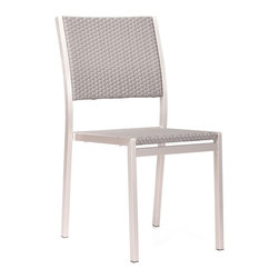 """Zuo - Zuo Metropolitan Brushed Aluminum Outdoor Dining Chair - A contemporary brushed aluminum outdoor dining chair in a clean contemporary style. Aluminum frame construction. Mesh textile seat and back. Stackable for ease of storage. From Zuo Modern. 18"""" wide. 20 3/4"""" deep. 35"""" high.  A contemporary brushed aluminum outdoor dining chair in a clean contemporary style.   Aluminum frame construction.  Mesh textile seat and back.   Stackable for ease of storage.   From Zuo Modern.   18"""" wide.   20 3/4"""" deep.    35"""" high."""