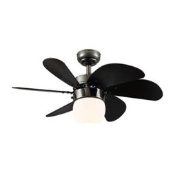 Westinghouse - Indoor Ceiling Fans: Westinghouse Turbo Swirl CFL 30 in. Gun Metal Ceiling Fan 7 - Shop for Lighting & Fans at The Home Depot. With a sleek gun metal finish, 6 curvy black blades, and streamlined opal frosted glass light fixture, the contemporary Westinghouse Lighting Turbo Swirl CFL 30 in. Indoor Gun Metal Ceiling Fan will add a dynamic focal point to any room. Ideal for rooms up to 100 sq. ft. (10 x 10 ft.) with standard 8 ft. ceilings, this ceiling fan features a 153 mm x 12 mm cold-rolled steel motor with dual capacitor for powerful, quiet air circulation. The fan also boasts three speeds and a reversible switch for maximum control over your indoor climate. The Turbo Swirl CFL provides airflow up to 3,519 CFM. It is rated to operate at 50 watts at high speed (without lights), which gives it an airflow efficiency rating of 70 CFM/watt. (As a comparison, 36 in. to 48 in. ceiling fans have airflow efficiencies ranging from approximately 71 to 86 CFM/watt at high speed.)The ceiling fan is remote control adaptable (do not use with dimmer) and comes with everything you need for installation, including a 3/4 in. x 4 in. (D x L) down rod, a 78 in. lead wire, and an energy-efficient medium-base 13-watt CFL Twist light bulb. The Turbo Swirl CFL is backed by a lifetime motor warranty and a 2-year warranty on all other parts.
