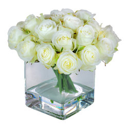 Jane Seymour Botanicals - Rose Buds in Square Glass Vase - It's been said that every rose has its thorn; here's proof to the contrary. The delightful, cream-colored rose buds of this permanent floral arrangement not only have no thorns, they also will not wilt, fade or require any care on your part. Displayed in a square glass vase with water illusion, they look just like the real thing, but without any of the drawbacks of fresh roses.