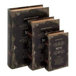 Benzara - Set of 3 Leather Book Box - Set of 3 leather book box. How about adding a pinch of thrill to your home by these Set of 3 leather encased book box. Some assembly may be required.