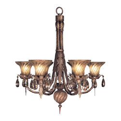 Fine Art Lamps - A Midsummer Nights Dream Chandelier, 146942ST - Add some old-world elegance to your home with this fine six-light chandelier. Acanthus leaves in a burnished antique gold finish, textured, handblown glass shades and gold-dusted crystal pendants are perfect for any room where you want to add elegance — and a touch of magic.