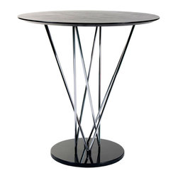 Euro Style - Euro Style Stacy Bar Table // Black/Ebony/Chrome - This table makes a statement and it goes like this:  I am strong, modern, built to last and I m virtually indestructible . It s true. With a marble base and black veneered top this table boasts a chromed steel infrastructure that is a marvel of sturdiness and style.