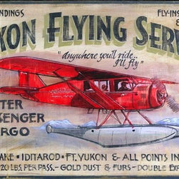 Red Horse Signs - Vintage Aviation Signs Yukon Flying Service Large, 20x32 - Vintage  Aviation  Signs  -  Charter,  Passenger,  Cargo,  20x32          If  you  can  handle  a  glacier  landing,  the  Yukon  Flying  Service  can  drop  you  just  about  anywhere  where  the  fishing  and  sightseeing  is  good.  If  you  prefer  to  keep  your  feet  on  the  ground,  this   vintage  avaition  sign  is  still  a  fun  way  to  decorate  the  rustic  walls  of  your  den,  your  family  room,  or  your  by-the-side-of-the-highway  cafe.          Each  vintage  sign  is  painted  directly  onto  distressed  wood  panels,  creating  a  replica  that  looks  like  a  hand-painted  antique.  Customize  the  wording  on  your  sign  by  calling  our  toll-free  customer  service  line  at  888-OLD-BARN.          Available  in  two  sizes:          Standard  Size  measures  14x24      Large  Format  measures  20x32          Please  allow  2-3  weeks  for  delivery.
