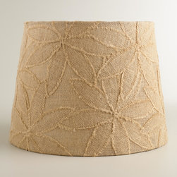 World Market - Petal Applique Burlap Table Lamp Shade - Handcrafted in India, our exclusive Petal Applique Burlap Table Lamp Shade infuses our popular natural burlap lamp shades with a fresh floral design. An appliqué of fringed petals fills each shade with a one-of-a-kind texture while keeping it neutral for any decor setting. Combine this versatile shade with any of our table lamp bases to create the perfect look.