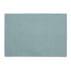Muted Aqua Lightweight Linen Custom Placemat Set - Is your table looking sad and lonely? Give it a boost with at set of Simple Placemats. Customizable in hundreds of fabrics, you're sure to find the perfect set for daily dining or that fancy shindig. We love it in this luxurious lightweight linen blend with characteristic slubs in muted aqua.  linen cotton blend will resist wrinkles.
