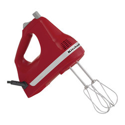 KitchenAid - KitchenAid RRKHM5ER Empire Red 5-speed Ultra Power Hand Mixer (Refurbished) - This KitchenAid ultra power hand mixer offers the ultimate in mixing capabilities with a five-speed design. This hand mixers is equipped with slide control, turbo beater accessories, and a comfort-designed handle.