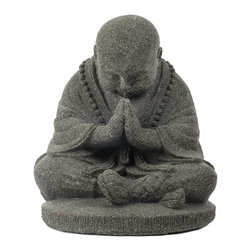 Repose Home - Bowing Monk, Volcanic Black - Welcoming all who enter your home or garden, this young monk is depicted with traditional clothing and footwear wearing a beaded mala around his neck. Cast in elegant, stone washed volcanic ash and weatherproofed for indoor or outdoor use.
