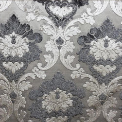 Parisian Cut Velvet, Graphite,Smoke,Silver and Grey Damask - Outstanding Parisian Velvet Damask designer fabric