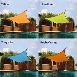 None - Medium Square Sail Sun Shade - The perfect accessory for backyard picnics on hot summer days, this Sail Sun Shade boasts breathable fabric construction for significant temperature reduction to create your own shady oasis.