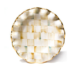 Parchment Check Fluted Dessert Plate   MacKenzie-Childs - With a warmly elegant attitude, a table set with Parchment Check Dessert Plates make guests feel both special and yet right at home. Each piece is handcrafted in Aurora of terra cotta, hand-painted in color-dragged checks, blending parchment, taupe, gold, and an irrepressible touch of aqua. Hand-applied gold lustre edges and accents. Kiln fired, four times. Hand-wash with care.