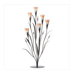 n/a - Dawn Flower Candle Holder - Infuse your space with the warm, romantic radiance of the dawn, anytime day or night !  This gorgeous lily-inspired collection turns candlelight into dazzling amber glow with tabletop candle holders.  Glass and acrylic.  Candles not included.