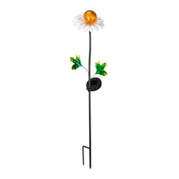 Smart Solar - Metal Daisy Solar Stake Light - Stake light accent ideal for flowerbeds, walkways, garden paths, decks or patios. Powered by an integral solar panel that charges the included Ni-Mh battery during the day. Comes on automatically as dusk and goes off at dawn. Up to 8 hours of light each night when fully charged. 6.7 in. L x 6.7 in. W x 29.5 in. H. Replaceable, rechargeable Ni-Mh battery. No wiring, simply install and enjoy. No operating costs