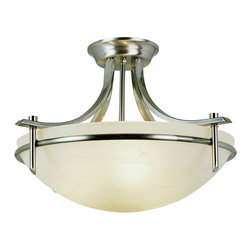 "Trans Globe Lighting - Modern Slim-Line 21"" Semi Flush Mount in Brushed Nickel -"