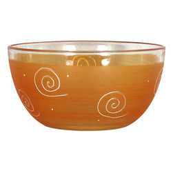 "Frosted Curl Orange 6"" Bowl - This lovely hand painted 6"" bowl is one of our top sellers.  It is orange with accent colors and adorned with curls and dots.  Perfect for any season or occasion. It also works perfectly as a dessert dish.  Something to be handed down from generation to generation.  Proudly hand painted in the USA."