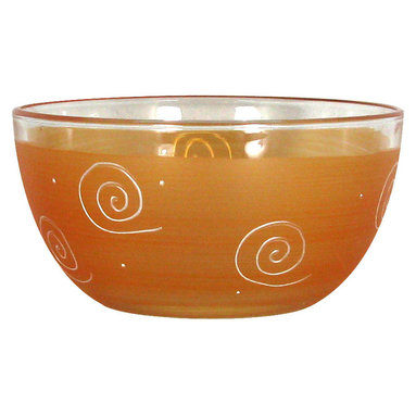 """Frosted Curl Orange 6"""" Bowl - This lovely hand painted 6"""" bowl is one of our top sellers.  It is orange with accent colors and adorned with curls and dots.  Perfect for any season or occasion. It also works perfectly as a dessert dish.  Something to be handed down from generation to generation.  Proudly hand painted in the USA."""