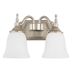 Quoizel - Quoizel 'Tritan' 2-light Brushed Nickel Bath Vanity - This timeless fixture features lovely bell-shaped shades that provide a bright,yet soft light and the classic finish coordinates with many faucets styles.