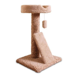 "MAJESTIC PET PRODUCTS - 30"" Carpeted Ramp Claw Bed Cat Tree - Only the finest materials for discerning cats: this carpeted cat tree features a ramp for scratching or leaping. A wide lounging area lets your cat nap undisturbed or survey the scene. The soft faux sheepskin interior adds a classy touch, and a dangling play toy will keep your cat busy for hours. Easy for humans to assemble."