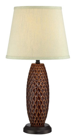 Lite Source - Lite Source Pina Transitional Table Lamp XSL-54222 - From the Pina Collection, this Lite Source table lamp features a bowed cylindrical shape with diamond texturing in the ceramic body. This transitional table lamp also features two-tone Pineapple coloring with a beautiful light beige linen diffuser, which comes in a more traditional, versatile shape.