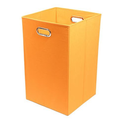 Bold Solid Orange Folding Laundry Basket