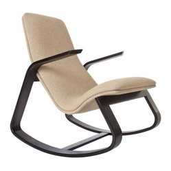 Rapid Rocker - Cocoa-Stained Maple, Light Brown Fabric