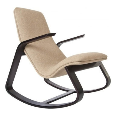 Rapson-Inc. - Rapid Rocker - Cocoa-Stained Maple, Light Brown Fabric - Based on drawings first done by Ralph Rapson in 1939 and reissued by Rapson Architects under Ralph's direction before he died, the Rapson Rapid Rocker remains as comfortable as it is striking after 70+ years. The strong maple-ply frame provides a smooth rock and the sculpted, cantilevered arms make the chair look like it is about to take flight. Your back and neck will appreciate the double-backed, foam-cushioned, form-fitting seat. Whether in the nursery, by the hearth, or in the living room, it's often called the most comfortable seat in the house.
