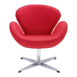 Arne Jacobsen Style Swan Chair in Red - In every sense of the word the Swan Chair is a true classic that will never go out of style. The chair was designed in 1958 and was developed for the lobby and reception areas at the Royal Hotel in Copenhagen, and Poly+Bark's Replica is of the highest quality.
