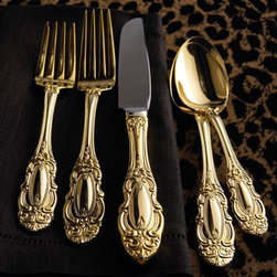 Wallace Silversmiths - Wallace Silversmiths 65-Piece Gold-Plated Grand Duchess Flatware Service - Add a radiant gleam to your table with elegant flatware from Wallace® Silversmiths. 24-karat yellow gold-plated flatware has a scroll motif. 65-piece service includes 12 five-piece place settings and a five-piece hostess set. Hand wash.