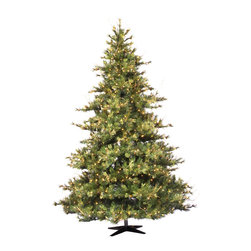 "Vickerman - Mixed Country Dura-Lit 800CL (7.5' x 63"") - 7.5' x 63"" Mixed Country Pine Tree with 1624 tips, cones, grapevines, 800 Clear Dura-Lit Lights, in metal stand. Step on/off switch on cord Dura-lit Lights utilize microchips in each socket so bulbs stay lit even when some bulbs are broken or missing."