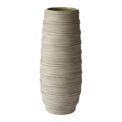 Lazy Susan - Lazy Susan 223040 Gray Corrugated Ceramic Vase - Small - Do you prefer a modern or more traditional home? This ceramic vase lends itself perfectly to either design style with its corrugated bands of texture in a neutral shade of gray. Fill it with a floral arrangement to make it a compelling focal point, for leave it empty and let it make its own statement.