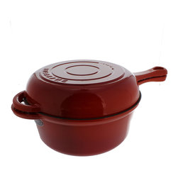 Chasseur - Chasseur 3-quart French Red Cast Iron Combi-Cook Sauce Pan - This Combi-Cook sauce pan from Chasseur is usable with nearly any cooking method,making it highly versatile. Sand-cast from solid iron and treated with multiple layers of non-reactive enamel,the Combi-Cook is something you'll enjoy for years.