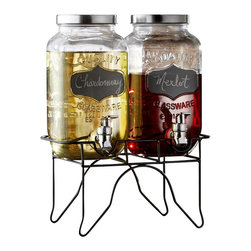 "Jay Companies - Double Glass Mason Jar Drink Dispenser with Chalkboards - Deeply appreciating the past, celebrate the simplicity of bygone times with our clear glass mason jar drink dispensers. Shabby chic with a refined twist, our high quality double drink dispenser takes entertaining to the next level! The wrought iron stand adds a touch of elegance to the design, while the wide openings make refilling and cleaning easy. The drink dispensers can be effortlessly customized with a simple stroke of chalk, and cleaned easily with a damp sponge. A great gift for any home entertainer.   * Capacity: 1.6 gallons in total, .8 gallons each jug  * Dimensions: 5.25"" x 5.25"" x 10.3"""
