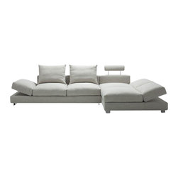 VIG Furniture - Vasto Grey Microfiber Fabric Sectional Sofa With Adjustable Armrest & Headrest - The Vasto sectional sofa will be a great addition for any modern themed living room decor. This sectional comes upholstered in a beautiful light grey microfiber fabric. Down feather is placed within the cushions for ultra soft seating and added comfort. The sectional features adjustable headrests and armrests to add that extra touch of relaxation.