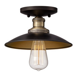 """Franklin Iron Works - Industrial Widefield 9"""" Wide Antique Brass Ceiling Light - Perfect for a variety of locations this ceiling light combines the best of industrial and vintage styling. An antique brass metal shade leads to a nostalgic Edison bulb creating a look that is handsomely minimal. Gold detailing completes the look. Antique brass finish. Gold finish hardware. Metal shade. Includes one 60 watt Edison bulb. 9"""" wide. 5 1/4"""" high.  Antique brass finish.  Gold finish hardware.  Metal shade.  Includes one 60 watt Edison bulb.  9"""" wide.  5 1/4"""" high.   Canopy 5 1/4"""" diameter."""