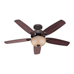 Hunter Builder Deluxe 52 in. Indoor Ceiling Fan with Light - Contemporary, simple lines and energy efficient, too, the Hunter Builder Deluxe 52 in. Indoor Ceiling Fan with Light is a natural choice for cooling any room in style. This ceiling fan and light kit combo features five sleek blades and a simple design. It comes in your choice of available finish options and includes a frosted, speckled glass shade that diffuses light beautifully. The pull chain makes it a breeze to adjust the fan speed or turn the light on and off. About Hunter FanHunter Fan traces its origins back to 1886 when John Hunter and his son, James Hunter, maked the first water-driven celling fan in upstate New York. Today the company blends 19th century craftsmanship with innovative designs and technology to make fans of unmatched quality, style, and performance. Hunter Fans now has offices in three countries and retail outlets around the world. Hunter Fans offers style, comfort, and health for you and your family. Their fans are handcrafted from the finest materials to last a lifetime. Hunter ceiling fans function perfectly and always deliver proven performance. They also offers air purifiers and humidifiers to make a truly healthy environment for your family. Hunter fans are as beautiful as they are whisper-quiet and efficient.