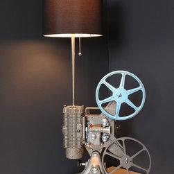 Custom lighting fixtures - Vintage Keystone Regal K-109 8MM projector converted into a unique table lamp.