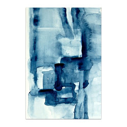 """Blue Blocks"" by Victoria Kloch - A small work of art with a big impact. The rich Prussian blue of this original abstract watercolor painting by Victoria Kloch will stand out on your wall."