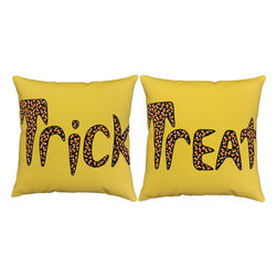 RoomCraft - Trick or Treat Throw Pillows 16x16 Halloween Yellow Cushions - FEATURES: