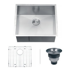 "Ruvati - Ruvati RVH7100 Undermount 16 Gauge 23"" Kitchen Sink Single Bowl - Sure to please any designer with an eye for purism, the Nesta series is defined by square bowls with sharp zero radius corners. The luxurious satin finish and heavy duty sound guard undercoating makes Nesta a perfect choice for your modern kitchen. Rear drain placement and elegant drain grooves add to the functionality of the sink."