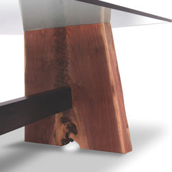 """Walnut Base Dining Table - Glass Top - Dining table base made of reclaimed walnut and 3/4"""" glass top."""