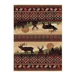 Tayse Rugs - Rectangular Lodge Rug (10 ft. 3 in. L x 7 ft. 10 in. W (36 lbs.)) - Choose Size: 10 ft. 3 in. L x 7 ft. 10 in. W (36 lbs.)Designed with the modern sportsman in mind. Durable and easy to care. Care: Vacuum and spot clean. Pile height: 0.39 in.. Made from polypropylene. Red colorIt is comprised of vivid imagery that will remind you of the simple joy that comes with getting away from civilization. So heed the call of the great outdoors and enjoy a celebration of nature.