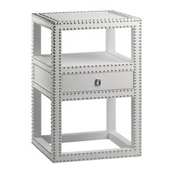 Bungalow 5 Marco White 1-Drawer Side Table - Textured Lacquered Grasscloth: Silver Nailheads: Silver Ring Pull. These pieces are made by hand using natural materials. Each may have variations in finish and the distinctive hand of the craftsmen who made them.
