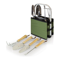 Picnic Time - Olive-Green and Black Garden Caddy - The Garden Caddy is like no other novelty gardening gift item you will find. It's an outdoor garden basket that has a stationary aluminum handle onto which a durable and expandable polyester body is sewn. Four individual pockets strategically sewn onto the expanded exterior of the basket hold four convenient gardening tools that don't get in the way when the basket is folded. Fold the base panel upward, and the basket condenses onto itself for compact storage and portability. Gardening was never so convenient!